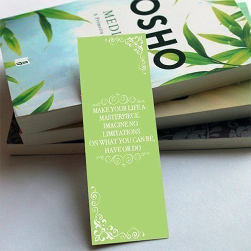 ||Custom green bookmark with inspirational quote||